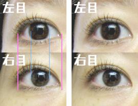 右目(裸眼)と左目(カラコン装着)との比較